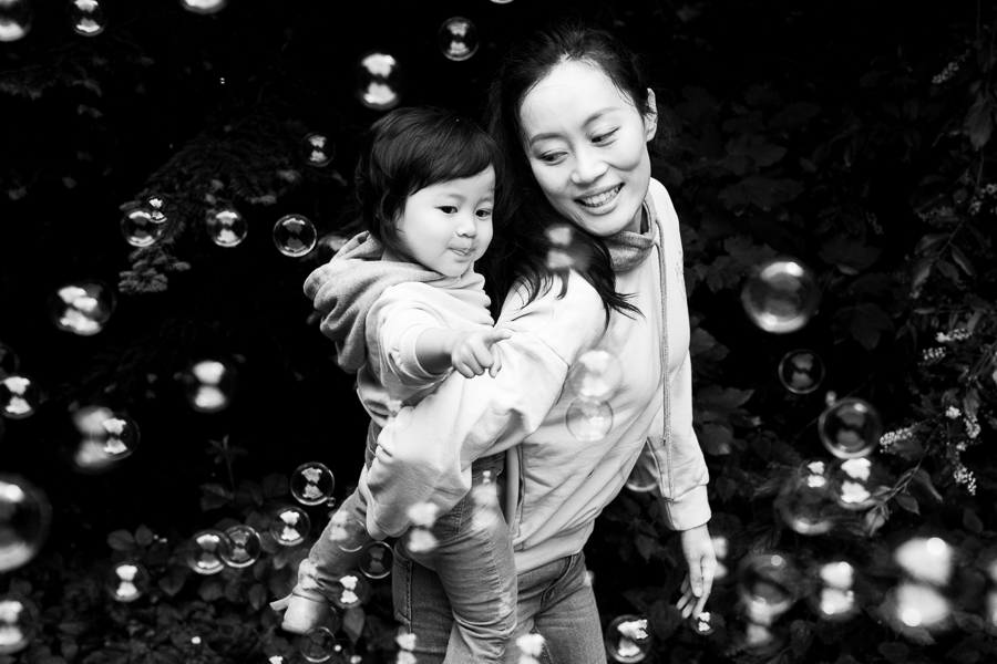 bubble fun mother and girl
